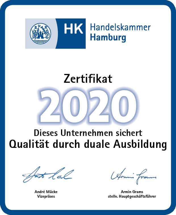 Ausbildungszertifikat 2020 Handelskammer Hamburg